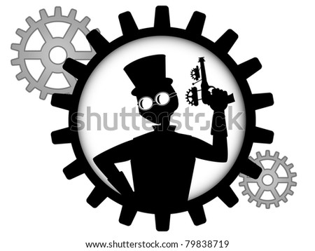 silhouette of steampunk man holds gun inside gear - stock vector