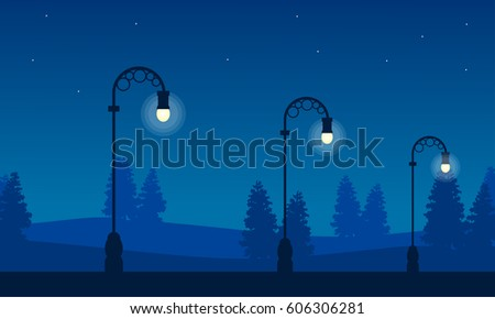 silhouette of street lamp at