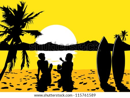 Silhouette of surfers on the beach in summer