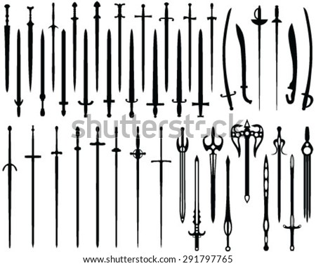 Silhouette of swords, vector, background, isolated