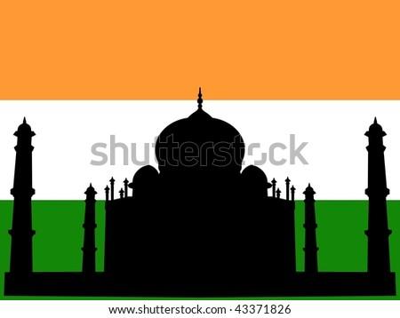 silhouette of Taj Mahal on Indian flag background