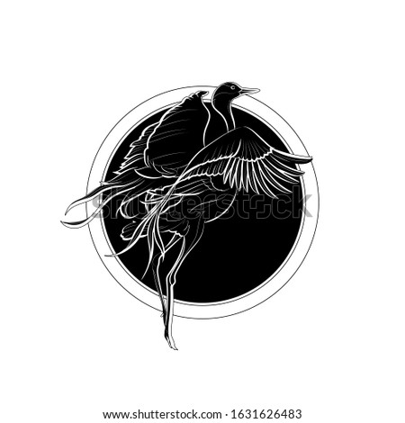 Silhouette of the blue crane (Stanley crane, paradise crane) on background with circles. Black and white illustration. Vector.