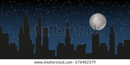 silhouette of the city and