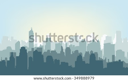 stock-vector-silhouette-of-the-city-at-sunrise