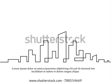 Silhouette of the city in a flat style. Modern urban landscape. Vector illustrations. City skyscrapers building office horizon.Continuous line drawing.