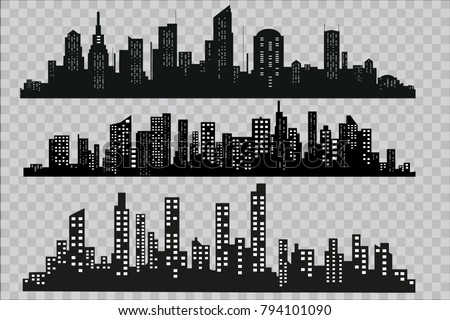 Silhouette of the city in a flat style. Modern urban landscape. Vector illustrations. City skyscrapers building office horizon on a transparent background.Can be used for green city, recreation zone.