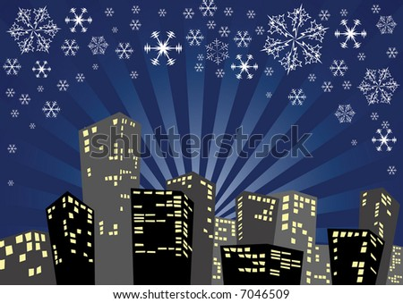Silhouette of the city in the winter night
