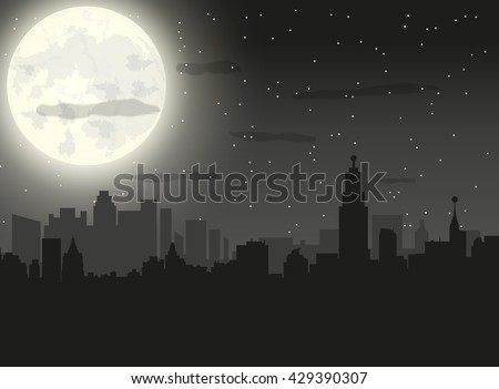 silhouette of the city with