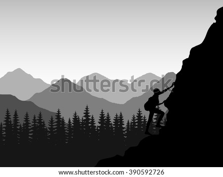 silhouette of the climber