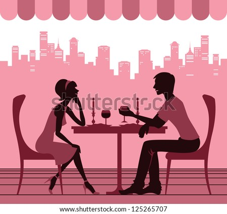 Silhouette of the couple in the cafe