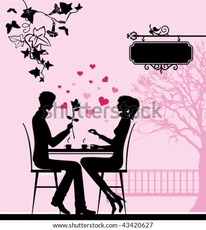 silhouette of the couple in the
