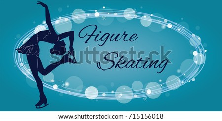 Silhouette of the figure skater against the background of blue elements. Vector illustration