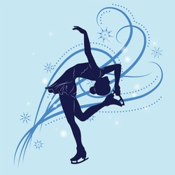 Silhouette of the figure skater against the background of blue patterns and snowflakes. Vector illustration