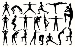 Silhouette of the girl engaged in fitness
