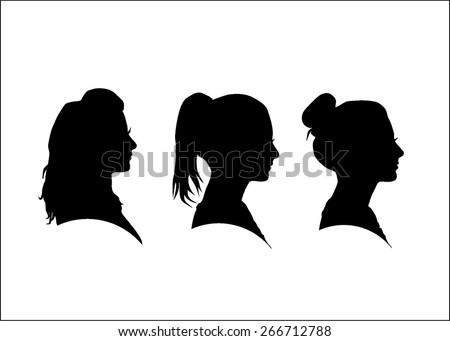 Silhouette of the girl in profile
