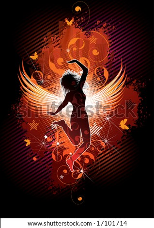 Silhouette of the girl with wings on an abstract background