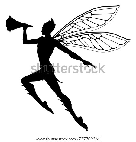 Silhouette of the graceful fairy boy.  Vector illustration.