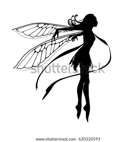Silhouette of the graceful fairy.  Vector illustration.