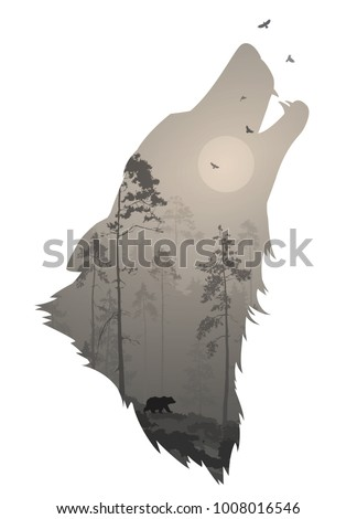 silhouette of the head of the howling wolf. Inside it is a night forest with a bear and birds. Vector illustration, white background, isolated object