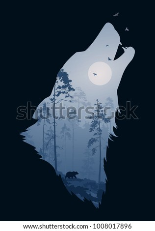silhouette of the head of the howling wolf. Inside it is a night forest with a bear and birds. Vector illustration, dark background, isolated object