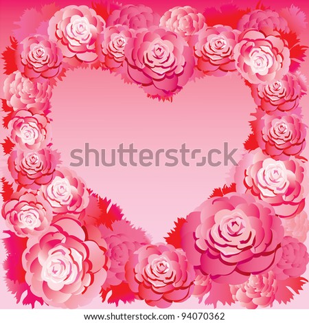 Silhouette of the heart made of roses. Place for your text. Vector art-illustration. - stock vector