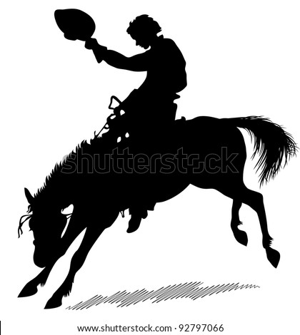Silhouette of the horseman which sits on a dancing horse. Silhouette of the horseman on a white background