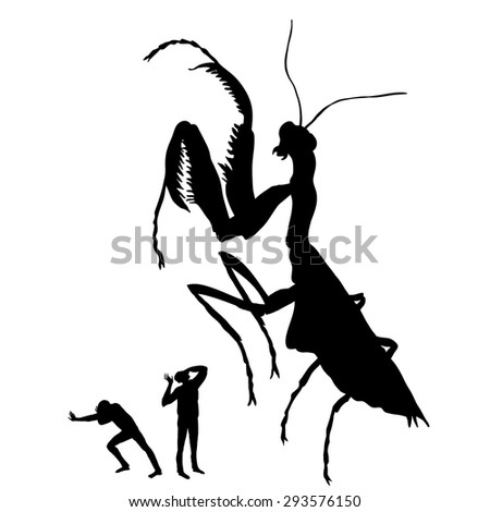 silhouette of the huge praying