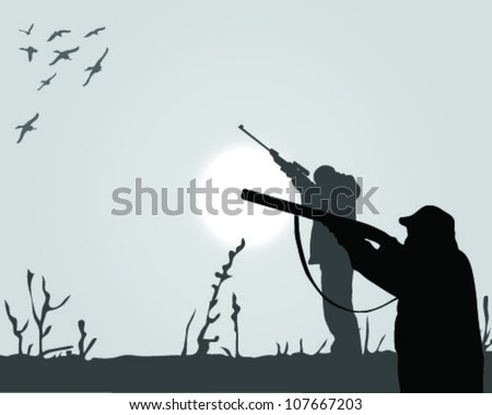 silhouette of the hunter of