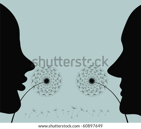Silhouette of the man and the woman, blowing on a dandelion