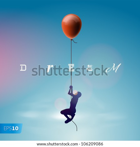 Silhouette of the man flying by a balloon, vector Eps10 illustration.