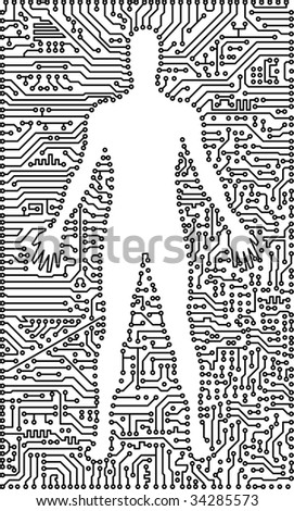 Silhouette of the man in an electronic computer tech background