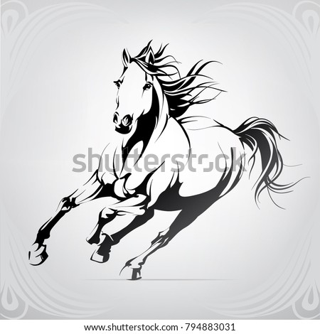 silhouette of the running horse