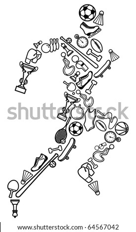 Silhouette of the running person from sports symbols - stock vector