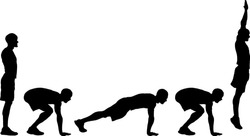 Silhouette of the sequence of a boy doing the burpee exercise. Vector illustration.