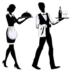silhouette of the waitress and the waiter at restaurant