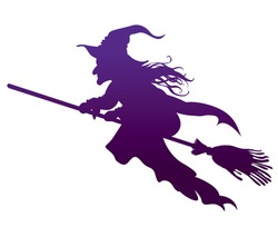 silhouette of the Witch on a broomstick