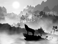 Silhouette of the wolf howling at the moon at night (or morning) in front of the mountains inside the mist clouds. Hight detailed realistic black and white vector illustration.