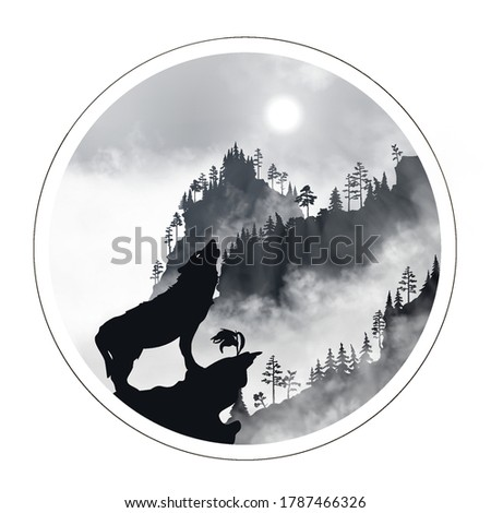 silhouette of the wolf howling