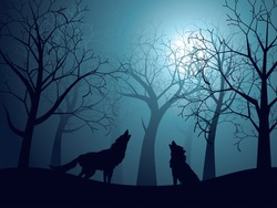 Silhouette of the wolf howling at the moon in the forest at night.