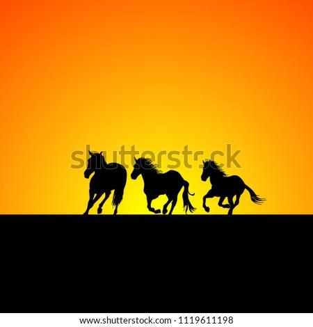 silhouette of three horses