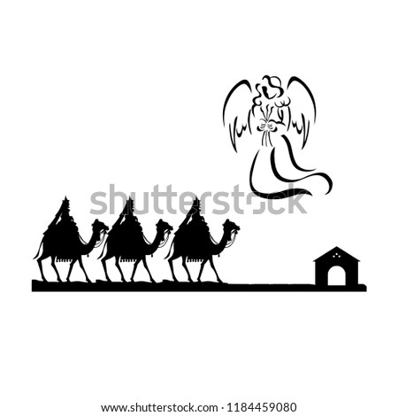 Silhouette of three Kings traveling on camel back from the East following the angel of Bethlehem isolated - Shutterstock ID 1184459080