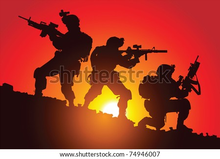 silhouette of three soldiers on