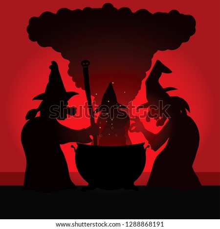 silhouette of three witch