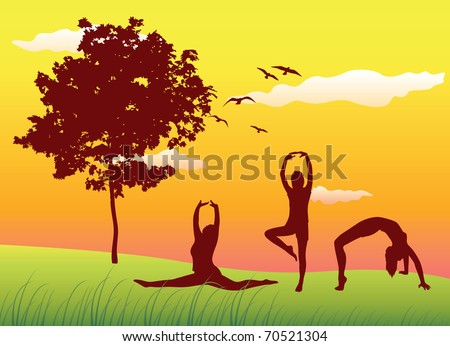 silhouette of three women making gymnastics exercises on summer field near tree, yellow sky