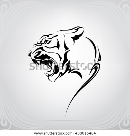 silhouette of tiger head