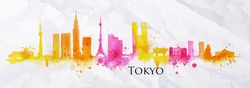 Silhouette of Tokyo city drawing with splashes of watercolor drops landmarks in yellow, pink tones