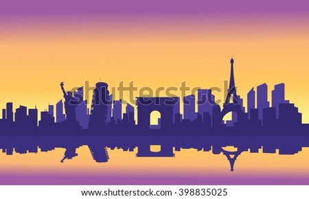 silhouette of tourist collage