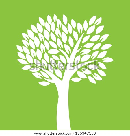 Silhouette of tree on green background