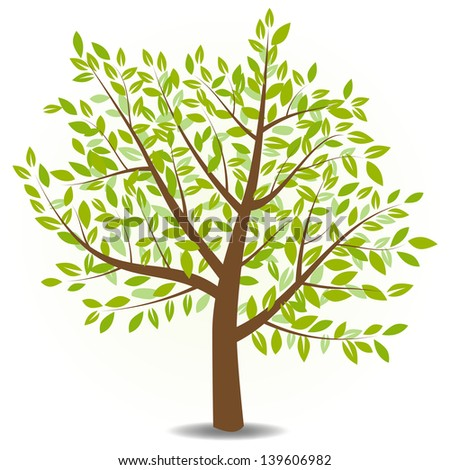 Silhouette of tree. Vector illustration.