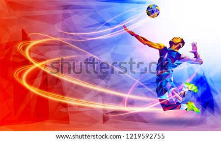 Silhouette of triangle volleyball player. Vector illustration